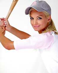 Francesca,Baseball Babe,Francesca slips out of her uniform and tries to fit the end of her baseball bat somewhere very naughty!
